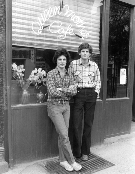 Andre and David outside the Queen Mother Cafe in 1979